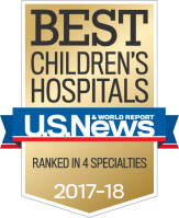 Best Children's Hospitals as ranked by U.S.News & World Report. Ranked in 4 specialties for 2017-2018