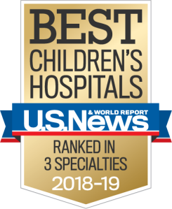 Best Children's Hospitals as ranked by U.S.News & World Report. Ranked in 3 specialties for 2018-2019